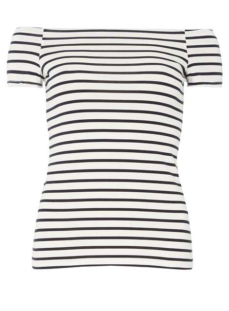 Ivory & Navy bardot top Price: £12.00 Click to visit Dorothy Perkins