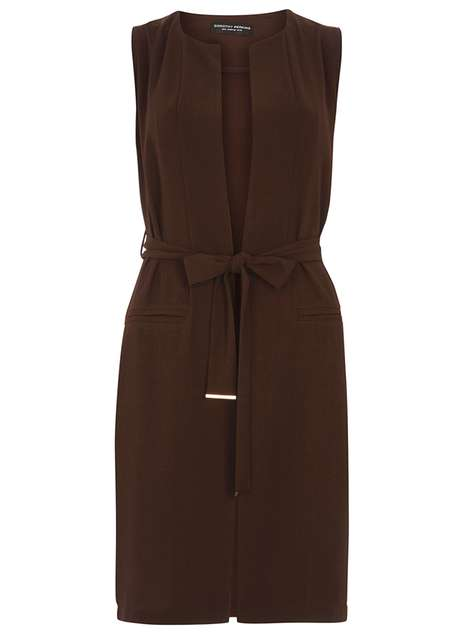 Chocolate Sleeveless Jacket Price: £28.00 Click to visit Dorothy Perkins