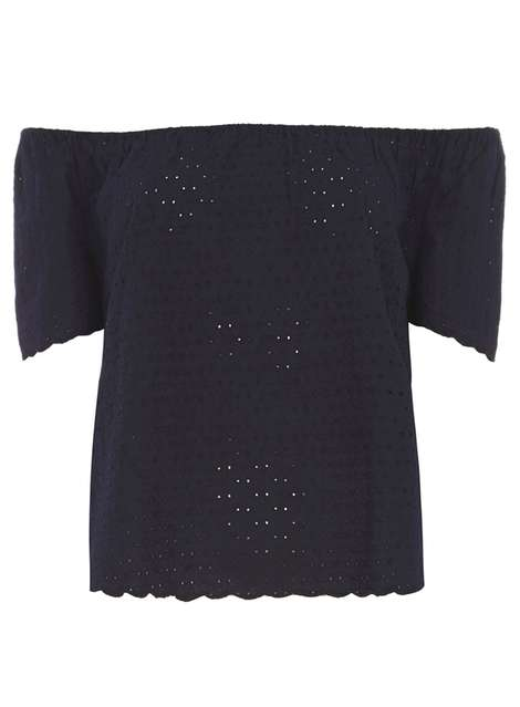Navy All Over Lace Bardot Top Price: £24.00 Click to visit Dorothy Perkins