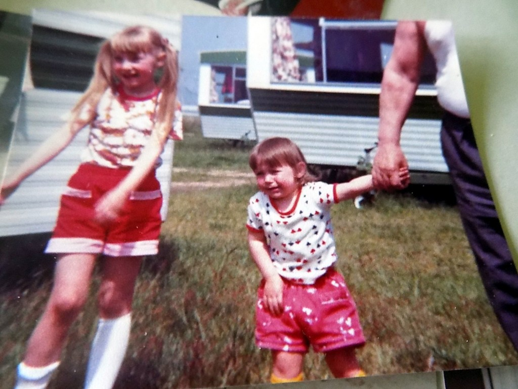 With my sister, aged about 6, on holiday in Paignton