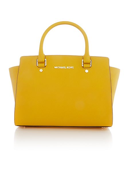 Michael Kors Selma yellow medium tote bag £285 Click to visit House of Fraser