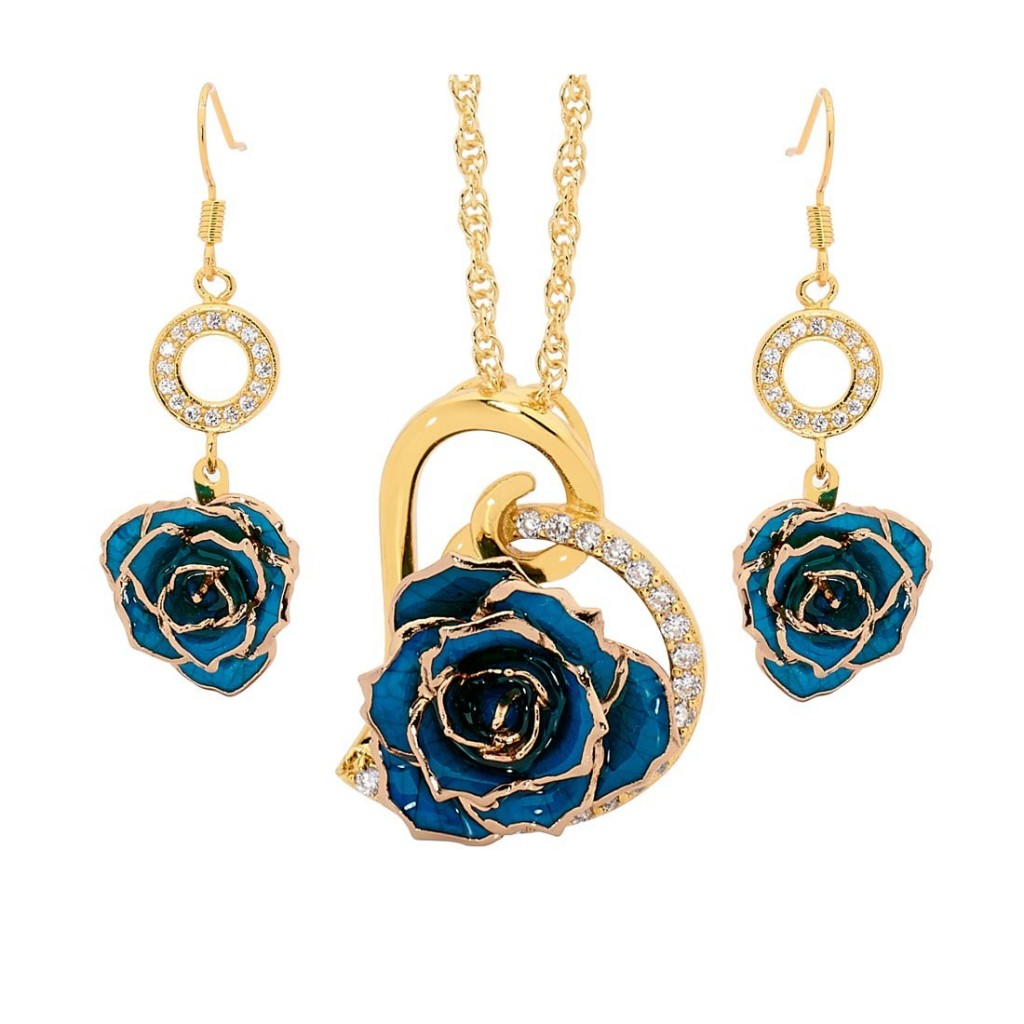 Blue Matching Pendant and Earring Set - Heart Theme 24K Gold £89 Click to visit The Eternity Rose