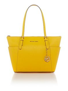 Michael Kors Jetset Item yellow zip top tote bag £220 Click to visit House of Fraser