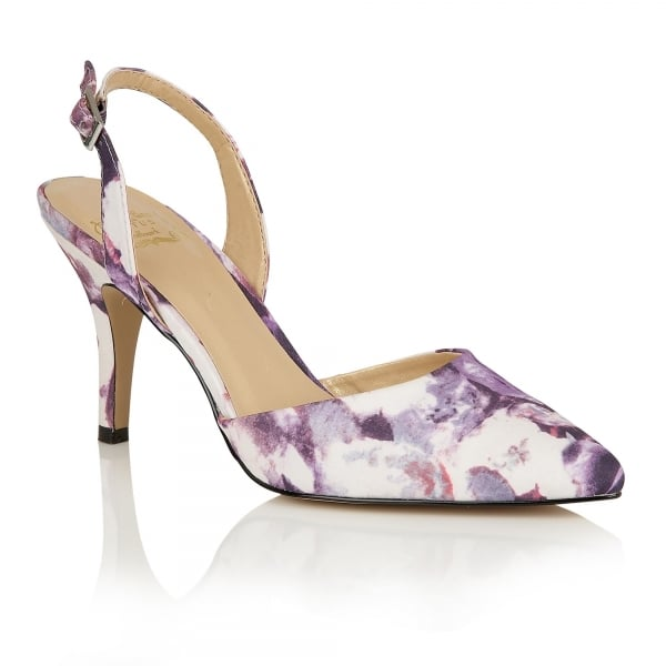 Lotus Hallmark Bridgitte Purple Floral Sling Back Heels