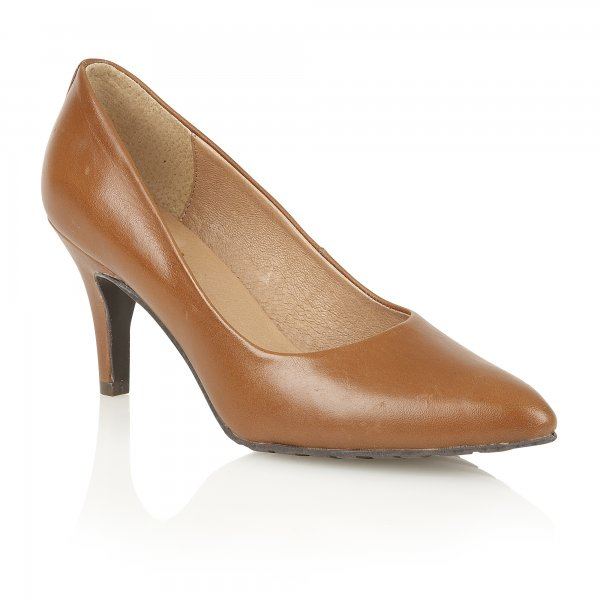 Lotus Myrtle Tan Leather Pointed Toe Shoes