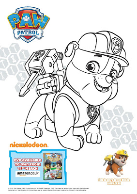 paw patrol pirate treasure - rubble colouring sheet