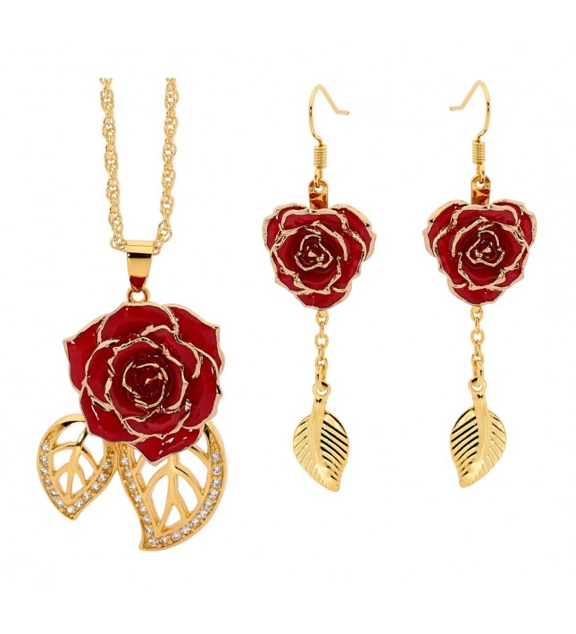 Red Matching Pendant and Earring Set - Leaf Theme 24K Gold £89 Click to visit The Eternity Rose