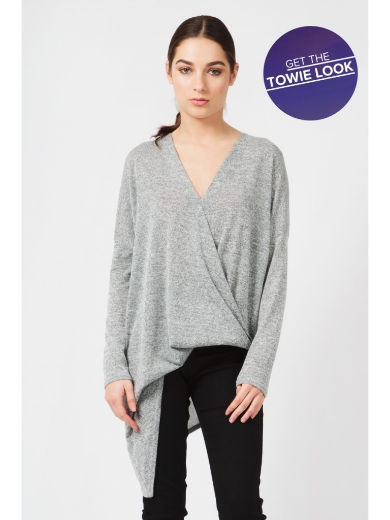 ASYMMETRIC WRAP FRONT 3/4 SLEE Code: #S043/1402/022_LIGHT GREY now £8.99 Click to visit Select