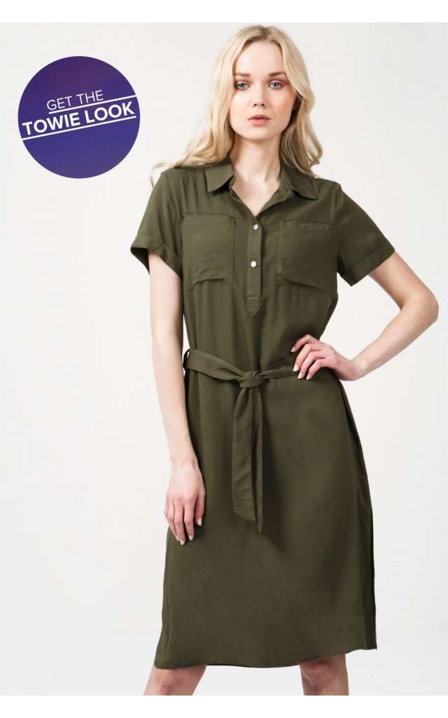 MIDI LENGTH SHIRT DRESS Code: #S043/0406/017_KHAKI £19.99 Click to visit Select