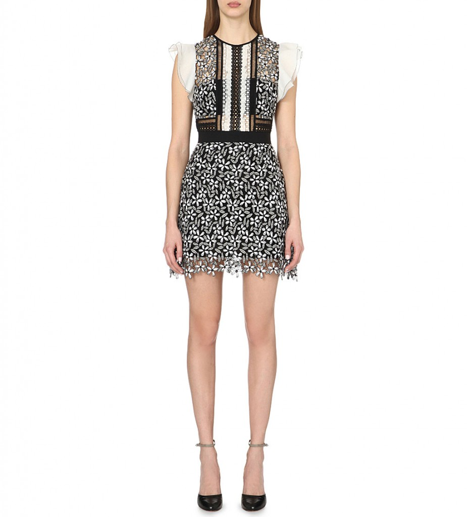 SELF-PORTRAIT Daisy embroidered Guipure lace mini dress £240.00 Click to visit Selfrdiges