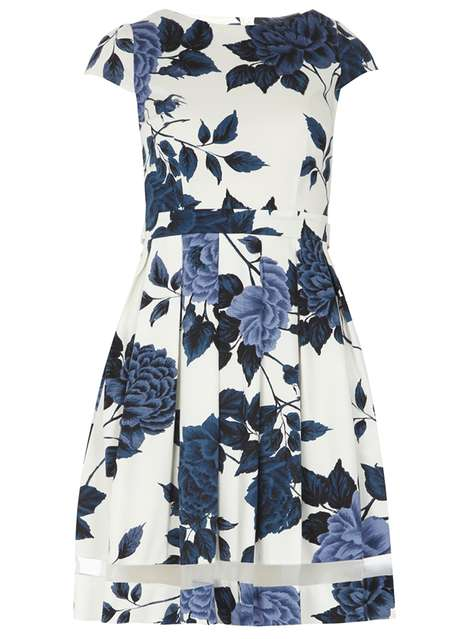 navy floral sateen dress Was £38.00 Now £28.50Click to visit Dorothy Perkins