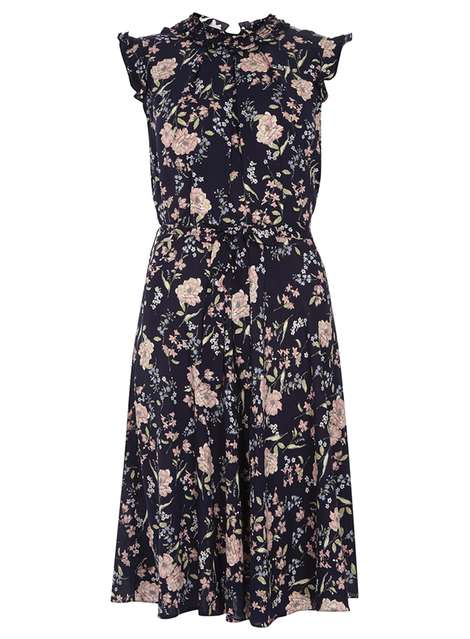 **Billie & Blossom Navy floral ruffle neck dress Was £30.00 Now £22.50Click to visit Dorothy Perkins