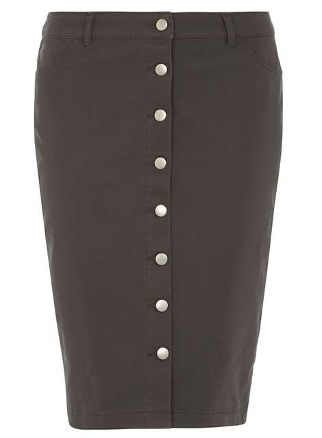 **Tall Khaki Button Front Skirt Was £24.00 Now £18.24Click to visit Dorothy Perkins
