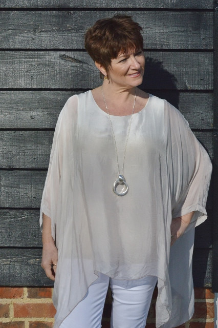 Taupe & White Silk Floaty Top £38.00 Click to visit Mandy's Heaven