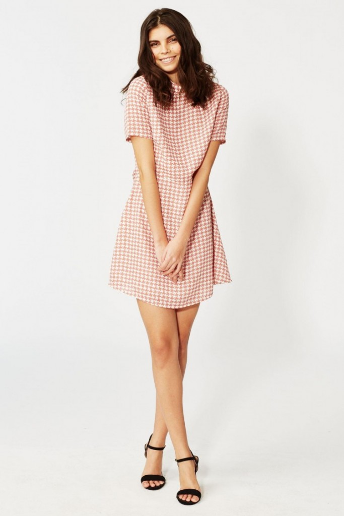 Fashion Union Dog Tooth Dress - Pink £30.00 Click to visit Brand Attic