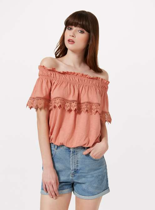 Pink Bardot Crochet Frill Top £20.00 Click to visit Miss Selfridge