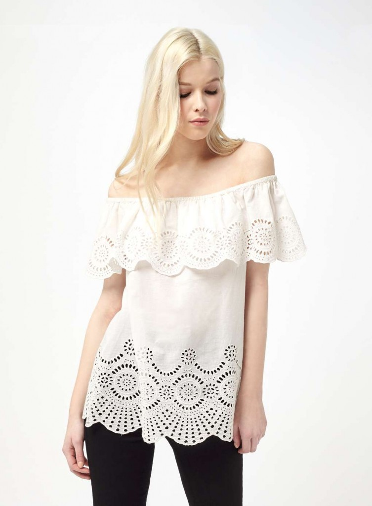 White Crochet Hem Bardot Top £28.00 Click to visit Miss Selfridge