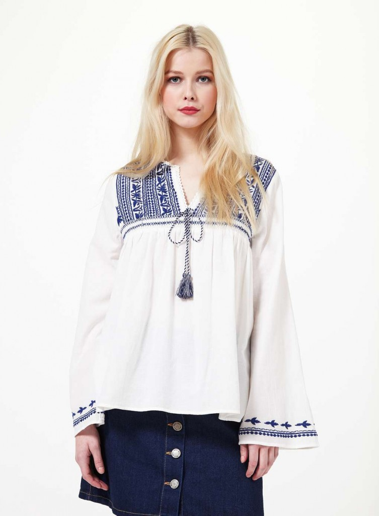 Blue Embroidered Gypsy Blouse Was £35.00 Now £20.00Click to visit Miss Selfridge