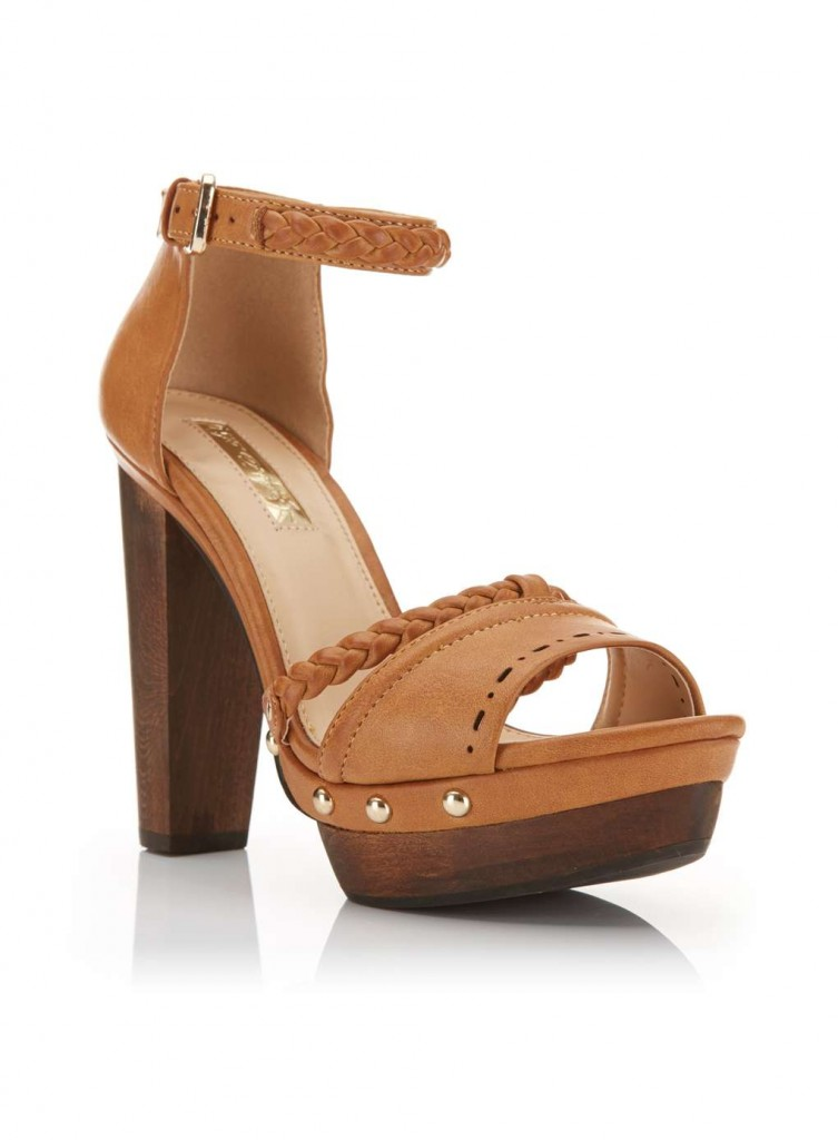 FLEUR Tan Wood Heel Sandal £45.00 Click to visit Miss Selfridge