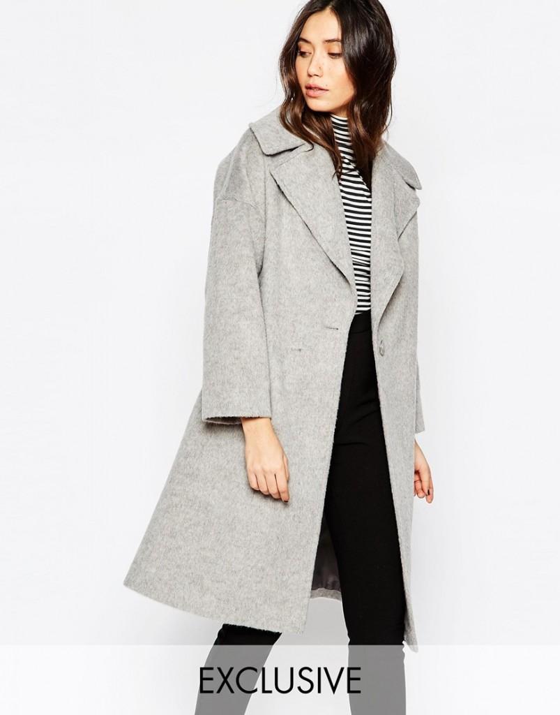 Helene Berman Light Grey Oversize Collar Coat RRP £199.00 now £110.00 Click to visit ASOS