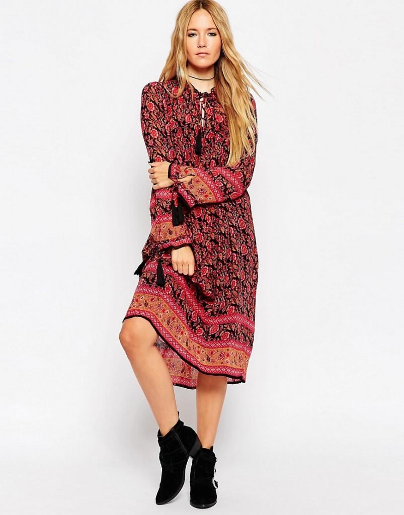 ASOS Midi Boho Dress With Border Print now £20 Click to visit ASOS