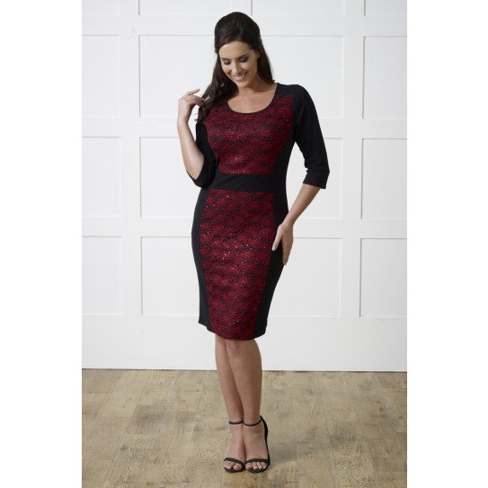 RED SEQUIN LACE ILLUSION DRESS £25 Click to visit Lavitta