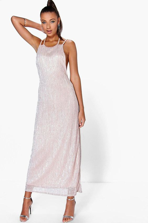 Boohoo Charli Strappy Back Metallic Maxi Dress Product code: dzz79912 £20.00 Size Guide Click to visit Boohoo