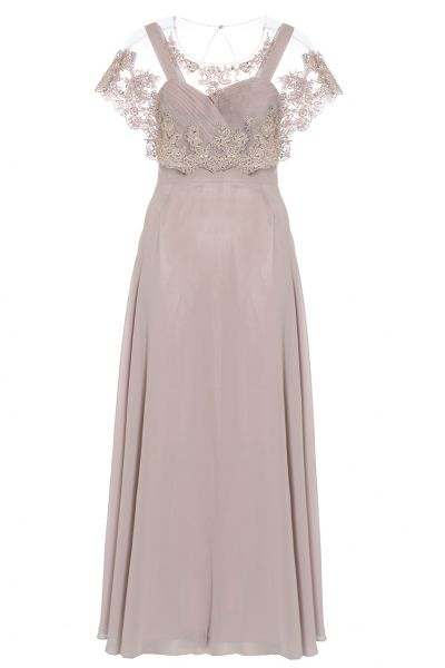 Mocha Chiffon V Neck Detachable Cape Maxi Dress