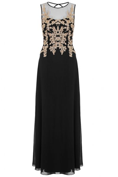 Black And Gold Embroidered Mesh Chiffon Maxi Dress