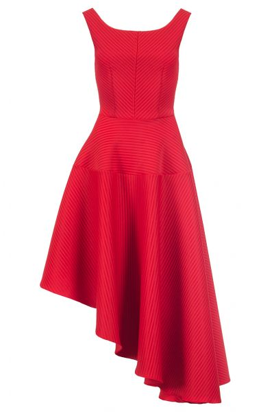 Red Ribbed Asymmetrical Hem Dress