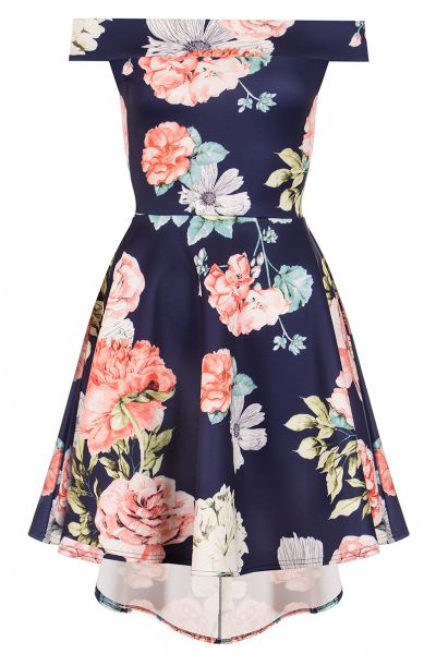 Navy And Coral Flower Print Bardot Dress