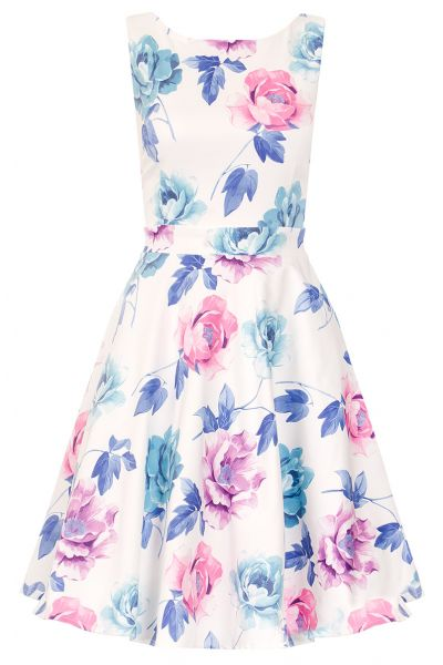 White Satin Flower Print Prom Dress