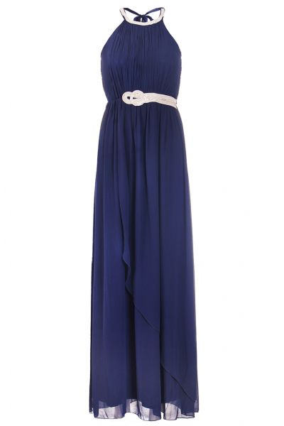 Navy Chiffon Diamante Neck Maxi Dress