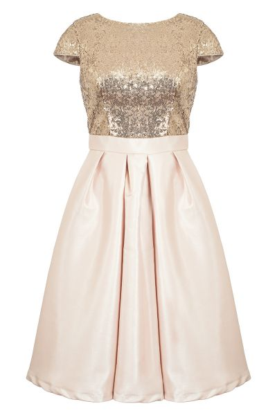 Champagne Sequin Cap Sleeve Satin Dress