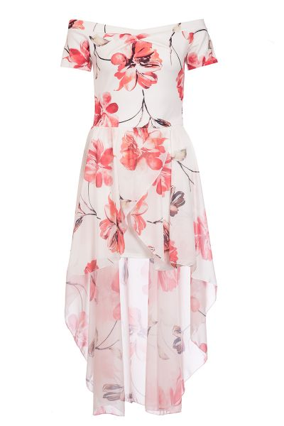 Cream And Red Flower Print Bardot Dip Hem Dress