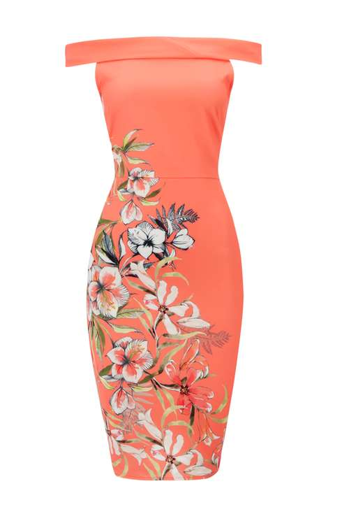 Coral Floral Printed Dress Price: £50.00 Click to visit Wallis