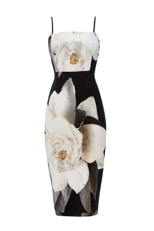 Black Floral Printed Strapless Dress Price: £60.00 Click to visit Wallis
