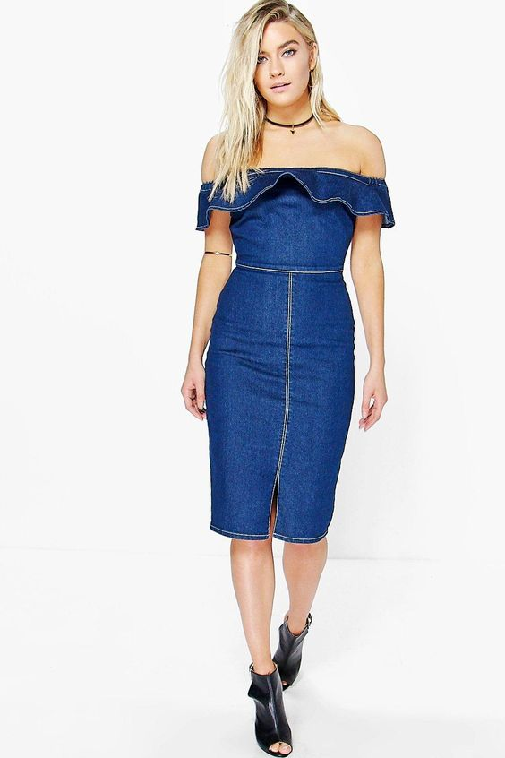 Boohoo Charli Off The Shoulder Bodycon Dress Product code: dzz81685 £25.00 Click to visit Boohoo