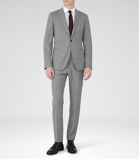 Rhine STRIPED SLIM-FIT SUIT GREY £425 Click to visit Reiss