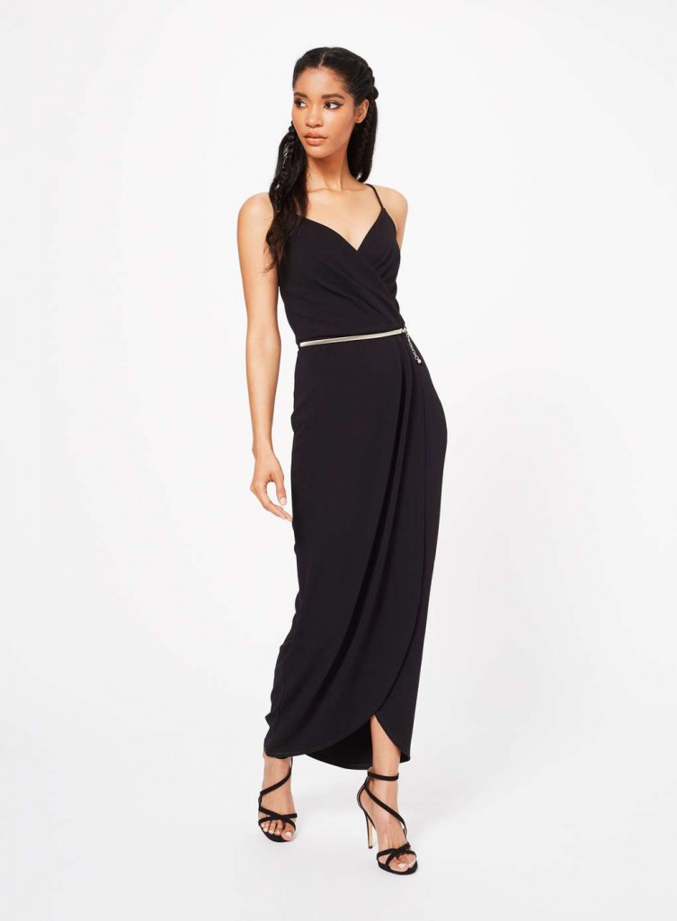 Black Wrap Front Maxi Dress £49.00 Click to visit Miss Selfridge