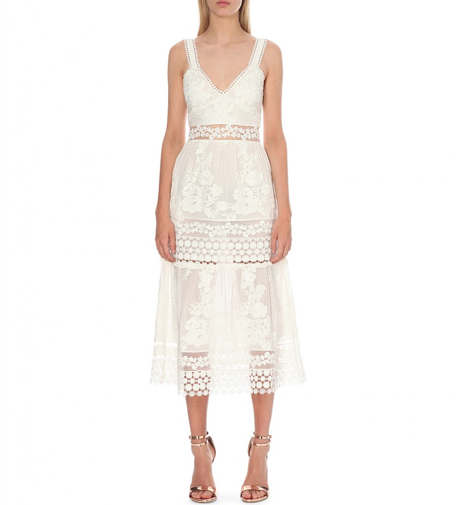 SELF-PORTRAIT Plunge neck Prairie dress with organza slip £280.00 Click to visit Selfridges