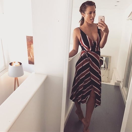 Caroline-Flack-Instagram-Fashion-Selfie-Topshop-Stripe-Wrap-Slip-Dress