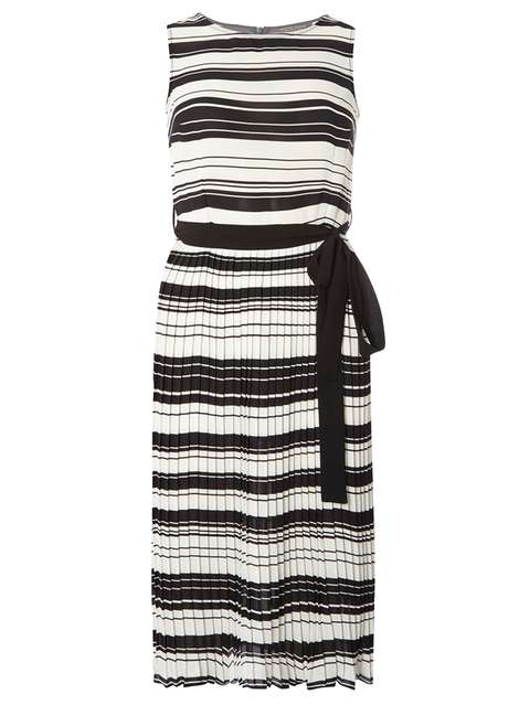 Monochrome Stripe Pleated Fit and Flare Dress Price: £42.00 Click to visit Dorothy Perkins
