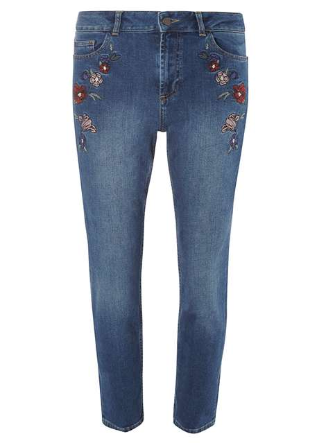 Embroidered Straight Leg Jeans Was £32.00 Now £25.60 Click to visit Dorothy Perkins