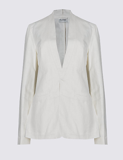 Loose Fit Long Sleeve Linen Blazer £45 Click to visit M&S