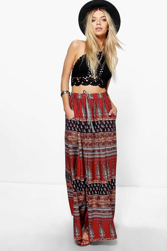 Darcie Boho Paisley Maxi Skirt £15 Click to visit Boohoo