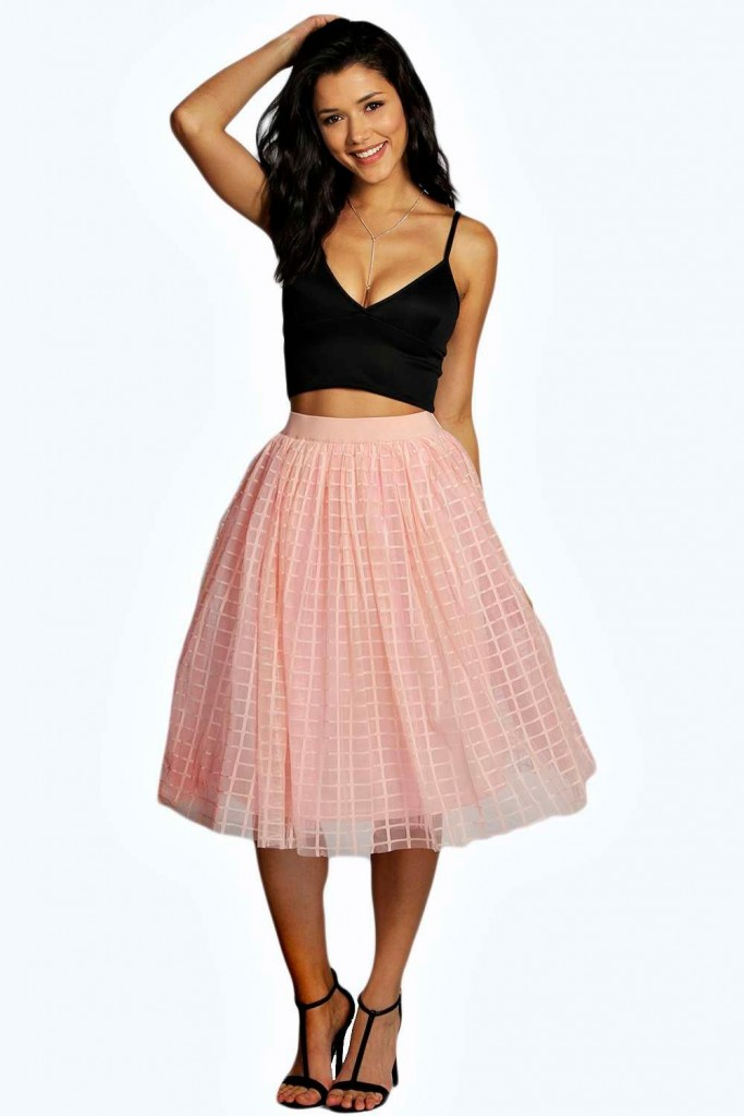 Boutique Marin Grid Tulle Full Midi Skirt £25 Click to visit Boohoo