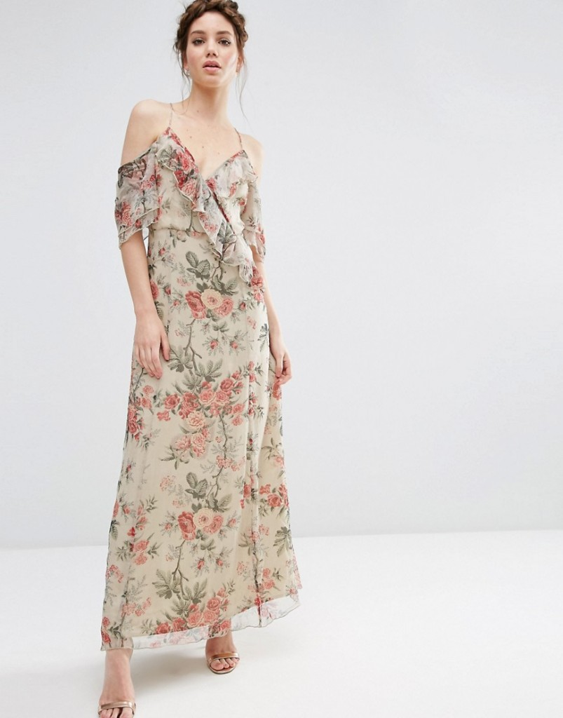 ASOS Ruffle Cold Shoulder Maxi Dress in Vintage Floral Print £48.00 Click to visit ASOS