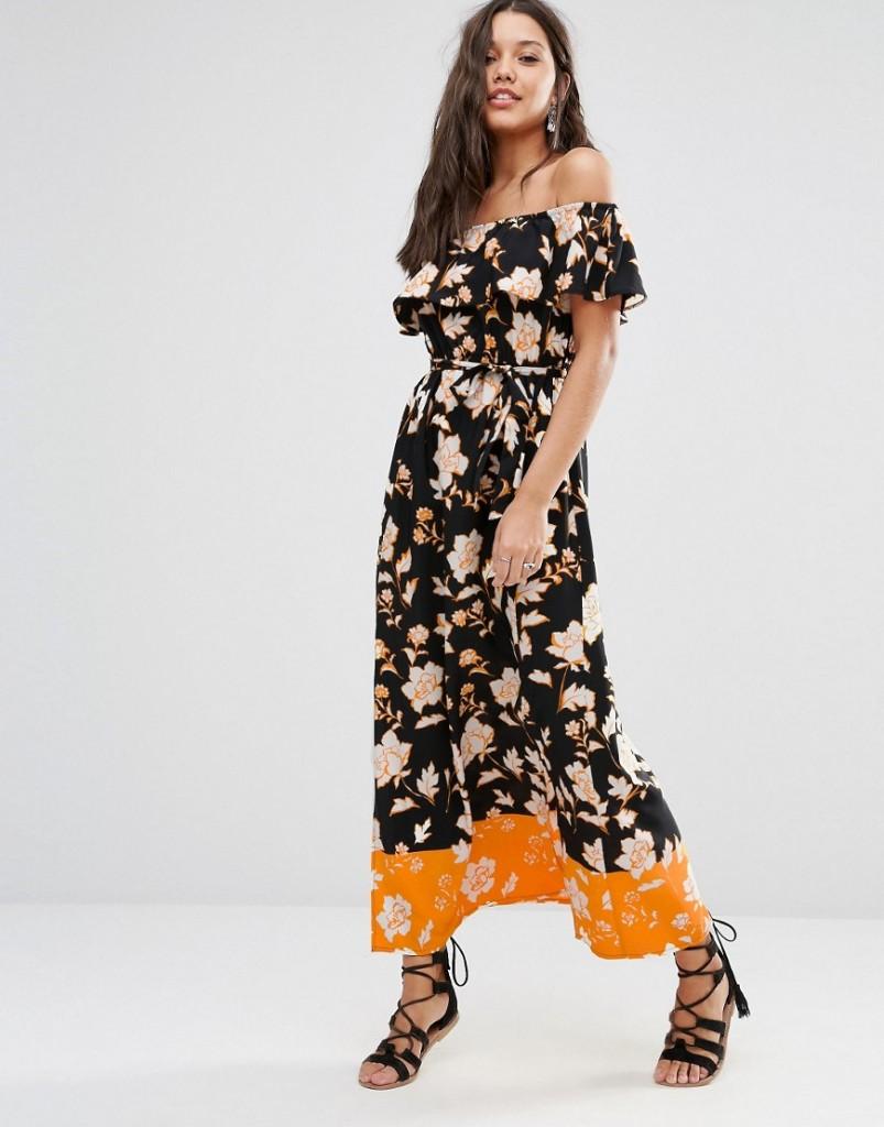 River Island Border Print Bardot Maxi Dress £35.00 Click to visit ASOS