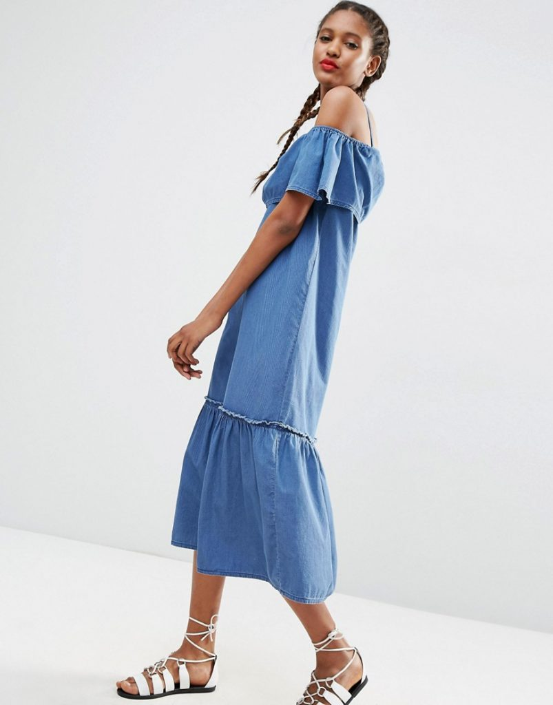 ASOS Denim Maxi Dress with Off Shoulder and Ruffle Hem £45.00 Click to visit ASOS